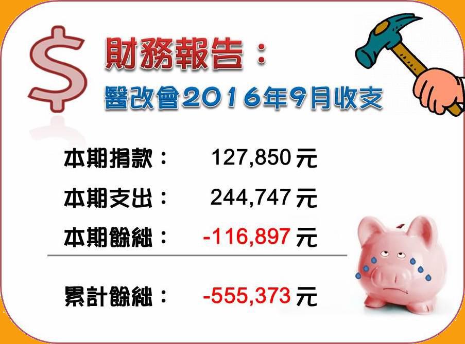 2016/09 收支報告